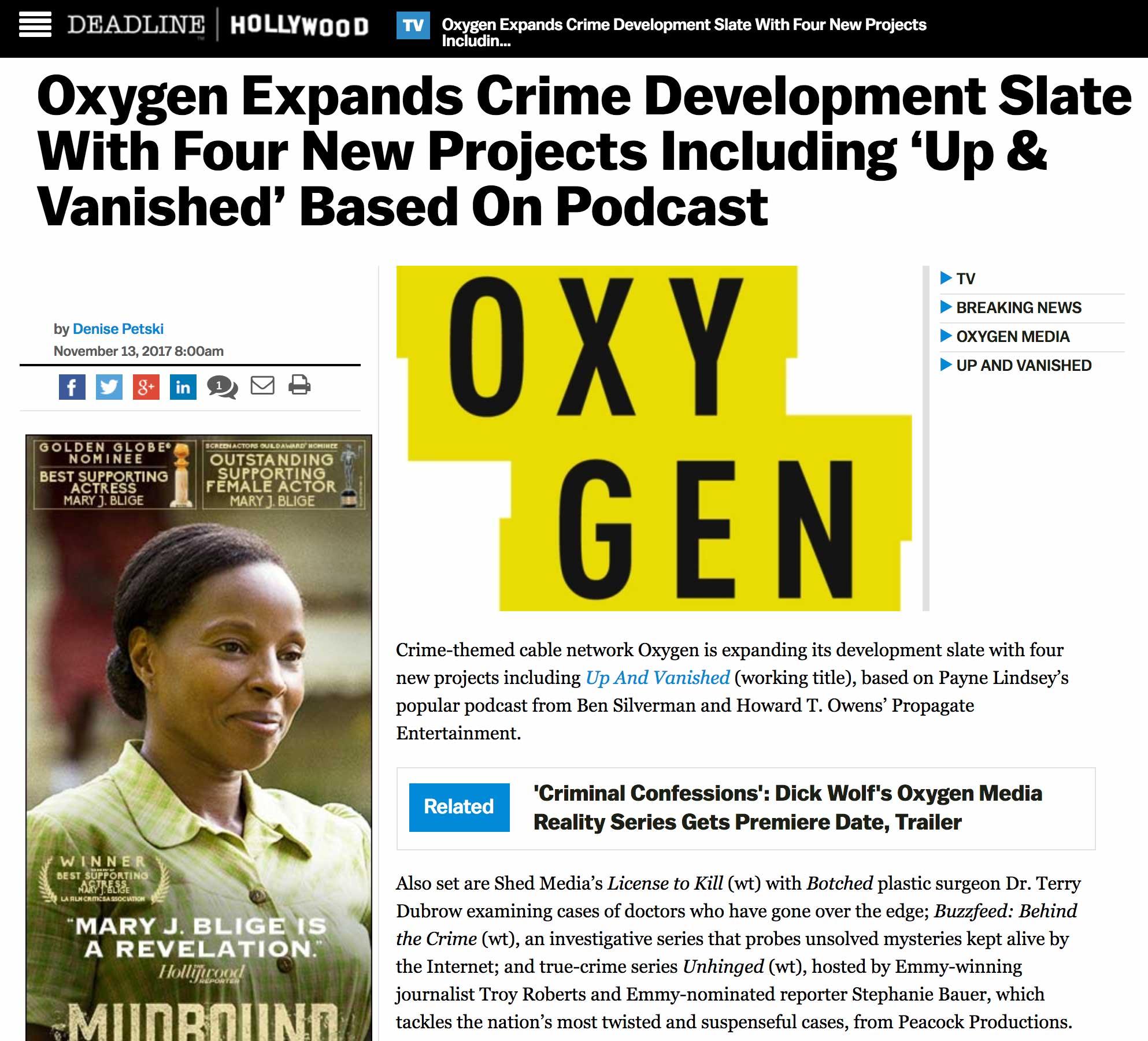 Oxygen Network Signs UAV for TV Series